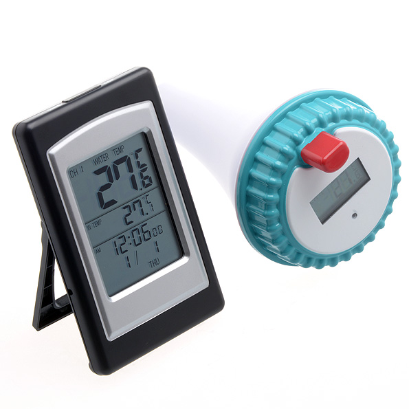 Thermom tre piscine horloge digitale capteur ext rieur for Thermometre piscine