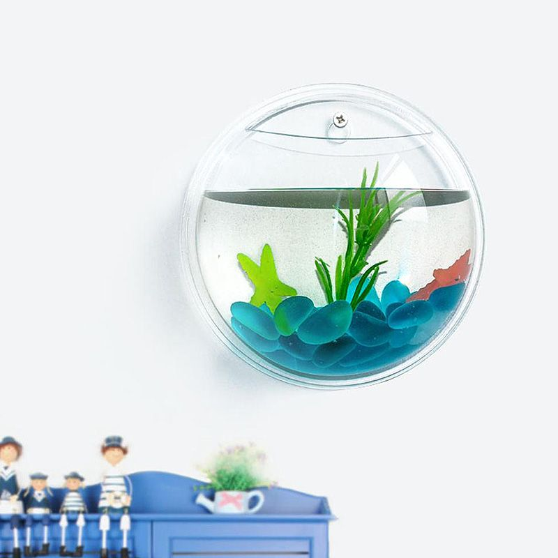 Aquarium accroche mur bol pot d coration pour poissons for Deco aquarium poisson