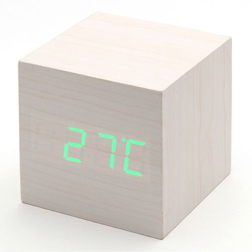 Horloge r veil alarme digital led en bois imitation thermom tre usb aaa