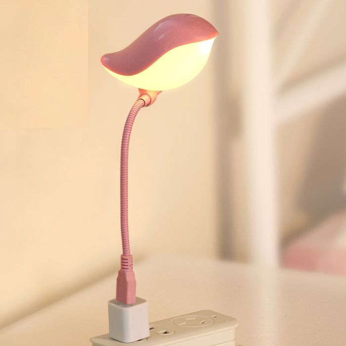 mini lampe table led usb en forme oiseau lumi re pour portable et chambre rose. Black Bedroom Furniture Sets. Home Design Ideas